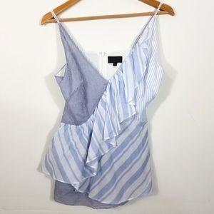 Intermix Blue Mixed Stripe Asymmetrical Cami Top